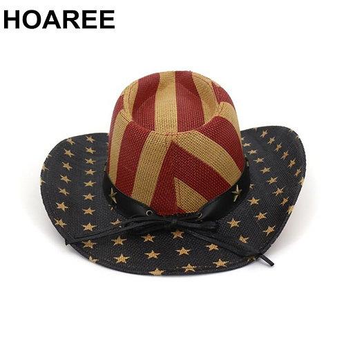 vintage Wide Brim Straw Cowpoke Hat