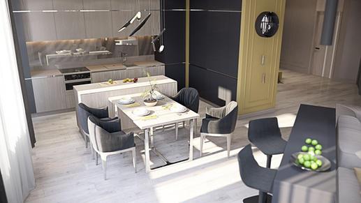 Bucătăria are mai multe zone: zona de lucru, cea a sufrageriei și cea a barulu