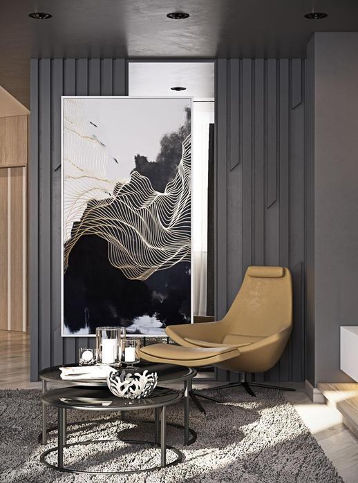Plăcile verticale din lemn crează un ritm decorativ, care împreună cu oglinda și pictura formează un punct de interes al apartamentului.