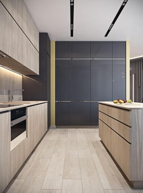 Zona de lucru a bucătăriei e curată estetic și performantă funcțional.