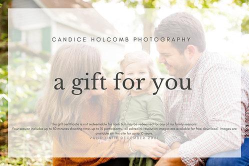 Full Family Session Gift Certificate