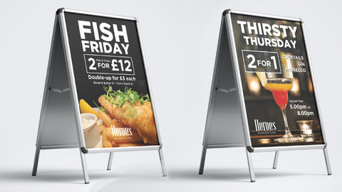 Heroes Restaurant A-Boards