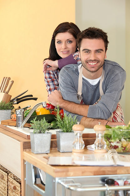 couple prepping healthy food