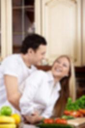 couple happy preparing food