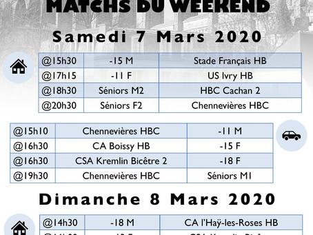 Annonce des matchs du week-end 7-8 Mars 2020