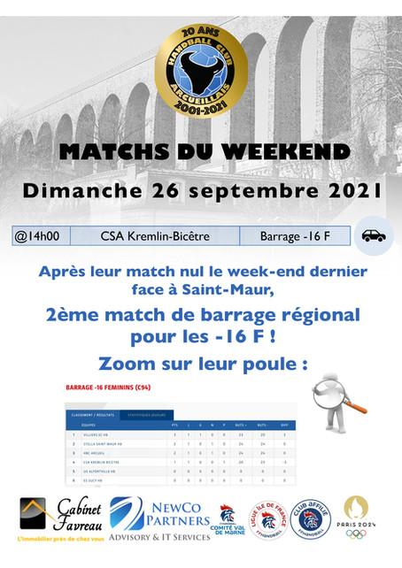 Annonce des matchs du week-end 25-26 Septembre 2021
