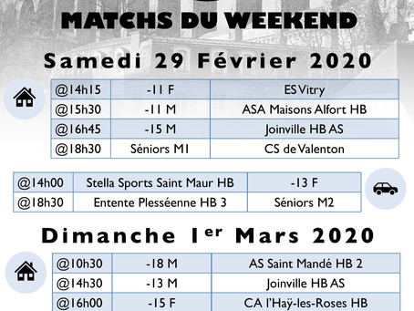 Annonce des matchs du week-end 29 Février-1er Mars 2020