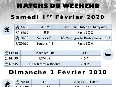 Annonce des matchs du week-end 1er-2 Février 2020