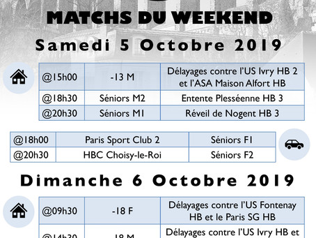 Annonces des matchs du week-end 5-6 Octobre