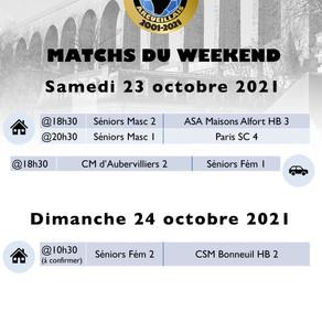 Annonce des matchs du week-end 23-24 octobre 2021