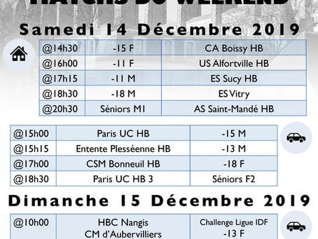 Annonce des matchs du week-end 14-15 Décembre