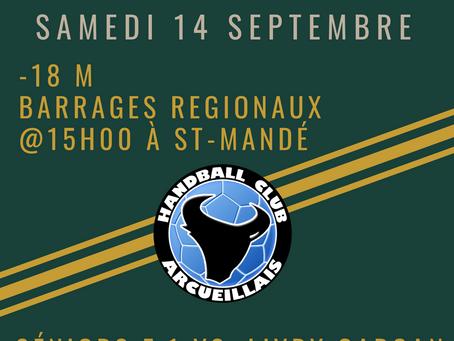 Annonce des matchs du Samedi 14 Septembre