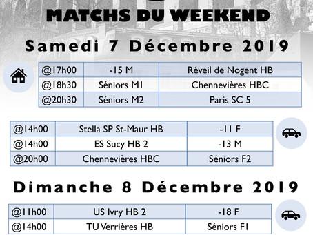 Annonce des matchs du week-end 7 - 8 Décembre