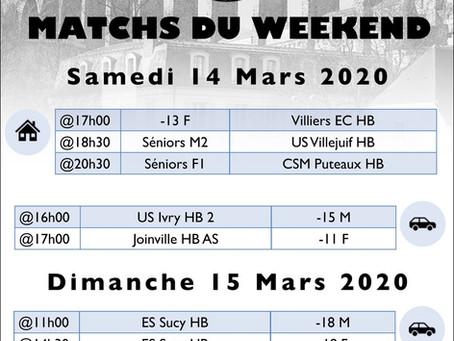 Annonce des matchs du week-end 14-15 Mars 2020