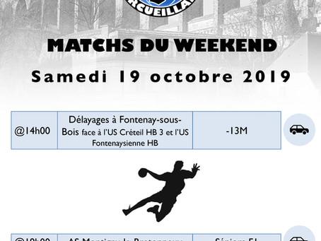 Annonce des matchs du week-end 19-20 octobre