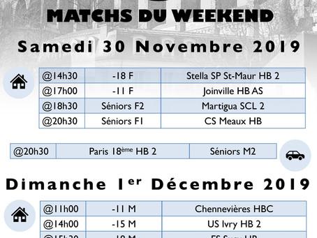 Annonce des matchs du week-end 30 Novembre - 1er Décembre
