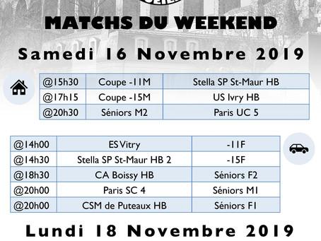 Annonce des matchs du week-end 16-17 Novembre