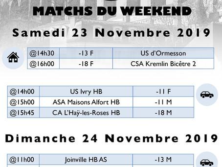 Annonce des matchs du week-end 23-24 Novembre