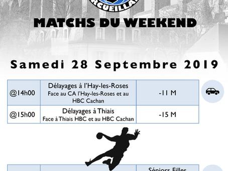 Annonces des matchs du week-end 28-29 Septembre