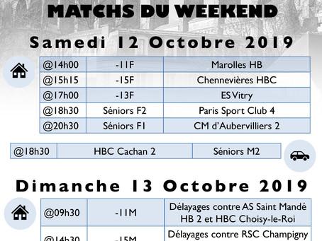 Annonce des matchs du week-end 12-13 octobre