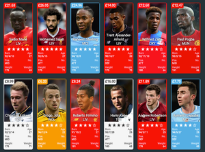 A grid showing 12 Premier League players on the Footstock Market.