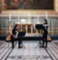 Victoria Heath and Bárbara Matos mid-concert at the Old Royal Naval Chapel