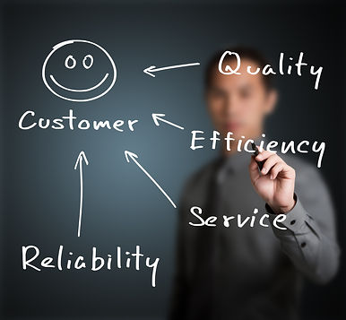 business man writing concept of quality,