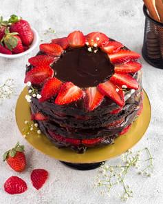 Naked Chocolate Strawberry Cake
