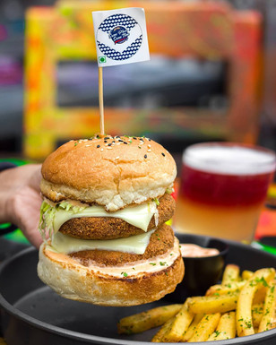 Brazillian Bean Beast Cheese Burger