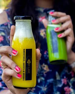Healthy Juice of Orange, Carrot, Pineapple and Celery