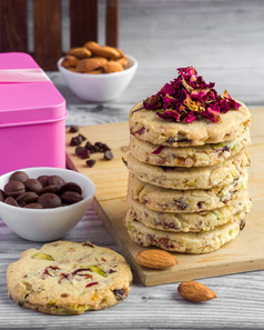 Rose Petals with Dry Fruits Short Bread