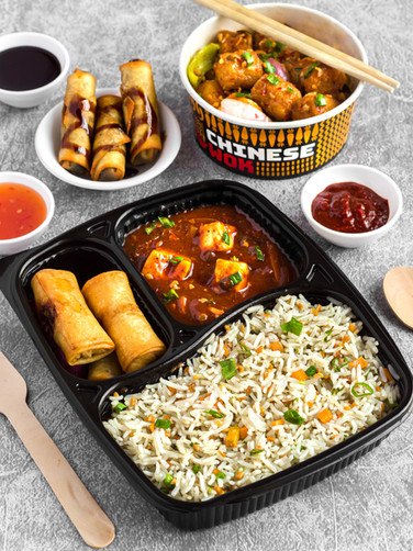 Kung Pao Paneer with Chocolate Spring Rolls
