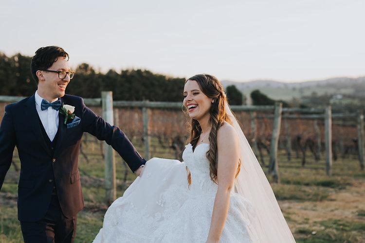 bride groom smiling