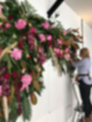 tropical event flower wall