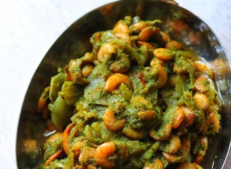 Easy Green Masala Prawn Sukka