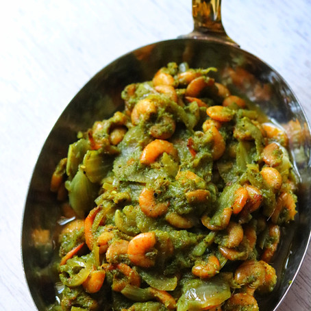 Easy Green Masala Prawn Sukka