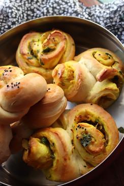 Spicy Caremlised onion rolls