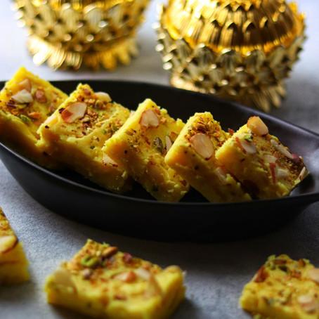Kesar Doodh Barfi/Milk Barfi Recipe
