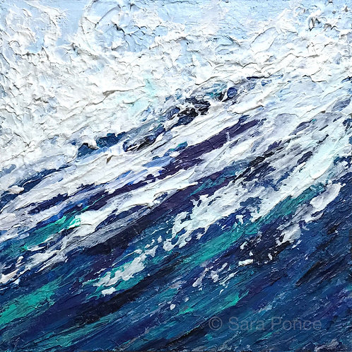 """Over the Blue No. 5   6"""" x 6""""   Acrylic on Cradle Wood Panel"""