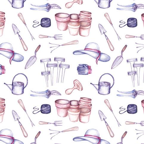 Seamless Pattern: Garden Tools