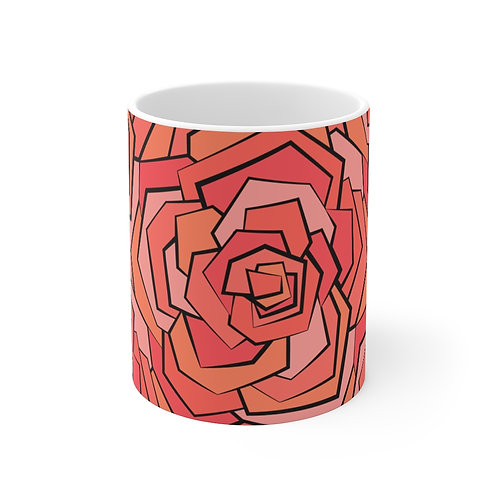 11oz Mug | Roses In Bloom | Coral | Large Pattern