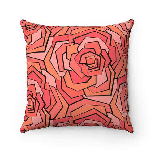 Square Pillow | Roses In Bloom | Coral