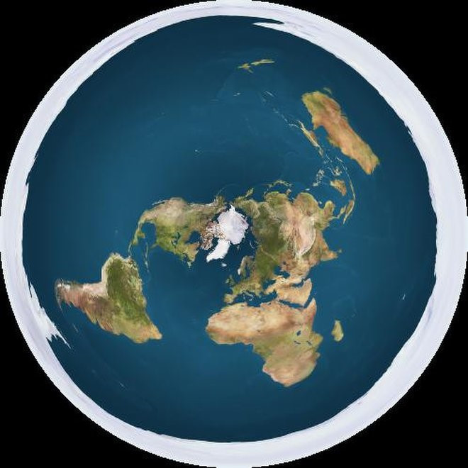 """A Flat Earth model depicting Antarctica as an ice wall surrounding a disc-shaped Earth. Credit: Creative Commons 1.0 Generic/Trekky0623""""."""