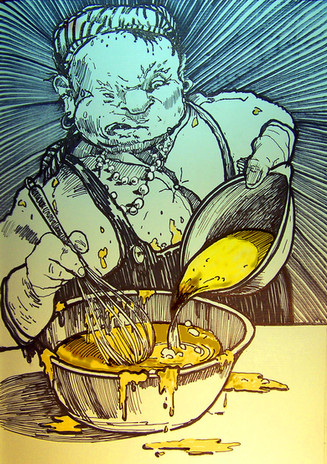 What I hope was a universal depiction of faculty mixing the batter.
