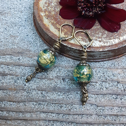 urban tribe - teal glass earrings