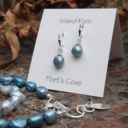 poet's cove - freshwater pearl earrings in aqua
