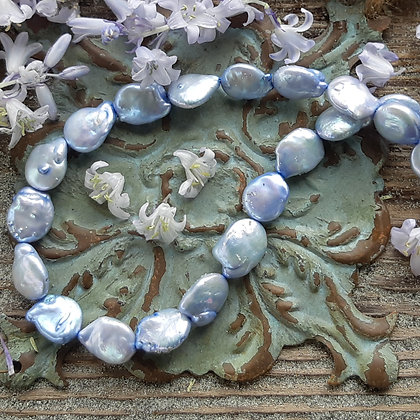 poet's cove - bluebird -freshwater pearl necklace