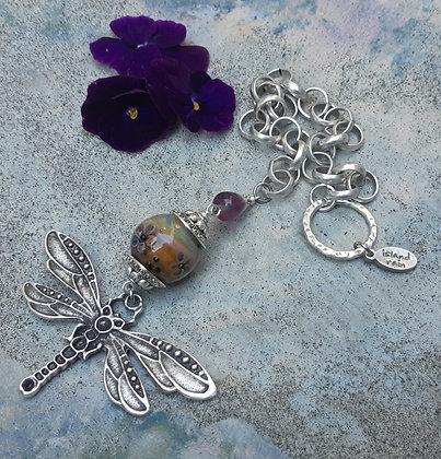 flight - garden accent with dragonflyand fluorite