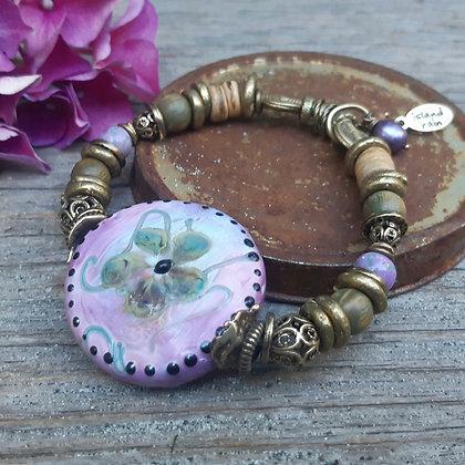 deja vu - retro island rain - pink bracelet
