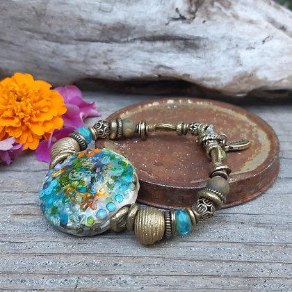 deja vu - retro island rain - abstract flower bracelet